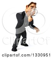 Clipart Of A 3d Macho White Businessman Searching With A Magnifying Glass Facing Right And Looking Down Royalty Free Illustration by Julos