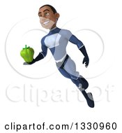 Clipart Of A 3d Young Black Male Super Hero Dark Blue Suit Flying With A Green Bell Pepper Royalty Free Illustration