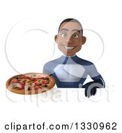 Clipart Of A 3d Young Black Male Super Hero Dark Blue Suit Holding A Pizza Over A Sign Royalty Free Illustration