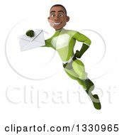 Clipart Of A 3d Young Black Male Super Hero In A Green Suit Flying And Holding An Envelope Royalty Free Illustration