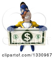 Clipart Of A 3d Muscular Black Male Super Hero In A Yellow And Blue Suit Holding Up A Giant Dollar Bill Royalty Free Illustration by Julos