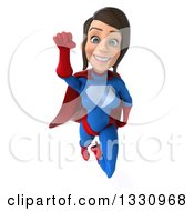 Clipart Of A 3d Flying Young Brunette White Female Super Hero In A Blue And Red Suit Royalty Free Illustration by Julos