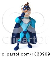 Clipart Of A 3d Caucasian Blue Male Super Hero Searching With A Magnifying Glass Royalty Free Illustration