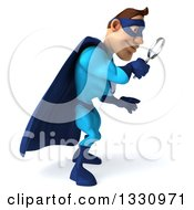 Clipart Of A 3d Caucasian Blue Male Super Hero Facing Right Looking Down And Searching With A Magnifying Glass Royalty Free Illustration