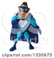Clipart Of A 3d Caucasian Blue Male Super Hero Looking Down Searching With A Magnifying Glass Royalty Free Illustration