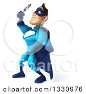 Clipart Of A 3d Caucasian Blue Male Super Hero Facing Left Looking Up Searching With A Magnifying Glass Royalty Free Illustration
