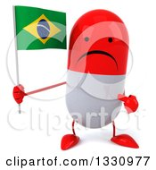 Clipart Of A 3d Unhappy Red And White Pill Character Holding And Pointing To A Brazilian Flag Royalty Free Illustration
