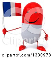 Clipart Of A 3d Happy Red And White Pill Character Holding A French Flag Royalty Free Illustration