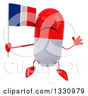 Clipart Of A 3d Unhappy Red And White Pill Character Jumping And Holding A French Flag Royalty Free Illustration