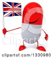 Clipart Of A 3d Happy Red And White Pill Character Holding A British Union Jack Flag Royalty Free Illustration