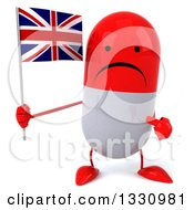 Clipart Of A 3d Unhappy Red And White Pill Character Holding And Pointing To A British Union Jack Flag Royalty Free Illustration