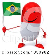 Clipart Of A 3d Happy Red And White Pill Character Holding A Brazilian Flag Royalty Free Illustration