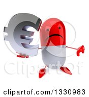 Clipart Of A 3d Unhappy Red And White Pill Character Holding Up A Thumb Down And Euro Symbol Royalty Free Illustration