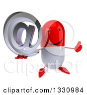 Clipart Of A 3d Happy Red And White Pill Character Holding Up A Thumb And Email Arobase At Symbol Royalty Free Illustration