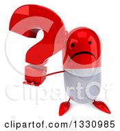 Clipart Of A 3d Unhappy Red And White Pill Character Holding Up A Question Mark Royalty Free Illustration