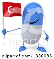 Clipart Of A 3d Happy Blue And White Pill Character Holding A Turkish Flag Royalty Free Illustration