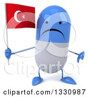 Clipart Of A 3d Unhappy Blue And White Pill Character Giving A Thumb Down And Holding A Turkish Flag Royalty Free Illustration