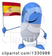 Clipart Of A 3d Happy Blue And White Pill Character Holding A Spanish Flag Royalty Free Illustration