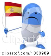 Clipart Of A 3d Unhappy Blue And White Pill Character Holding And Pointing To A Spanish Flag Royalty Free Illustration