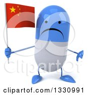 Clipart Of A 3d Unhappy Blue And White Pill Character Giving A Thumb Down And Holding A Chinese Flag Royalty Free Illustration
