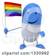 Clipart Of A 3d Happy Blue And White Pill Character Holding And Pointing To A Rainbow Flag Royalty Free Illustration
