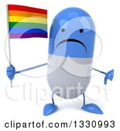 Clipart Of A 3d Unhappy Blue And White Pill Character Giving A Thumb Down And Holding A Rainbow Flag Royalty Free Illustration