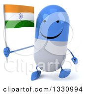 Clipart Of A 3d Happy Blue And White Pill Character Walking And Holding An Indian Flag Royalty Free Illustration