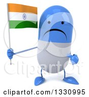 Clipart Of A 3d Unhappy Blue And White Pill Character Holding And Pointing To An Indian Flag Royalty Free Illustration