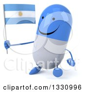 Clipart Of A 3d Happy Blue And White Pill Character Walking To The Left And Holding An Argentine Flag Royalty Free Illustration
