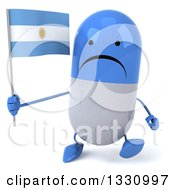 Clipart Of A 3d Unhappy Blue And White Pill Character Walking And Holding An Argentine Flag Royalty Free Illustration