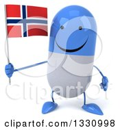 Clipart Of A 3d Happy Blue And White Pill Character Holding A Norwegian Flag Royalty Free Illustration