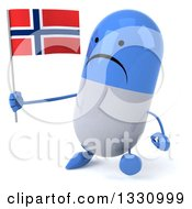 Clipart Of A 3d Unhappy Blue And White Pill Character Walking Slightly Left And Holding A Norwegian Flag Royalty Free Illustration
