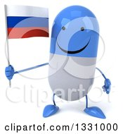 Clipart Of A 3d Happy Blue And White Pill Character Holding A Russian Flag Royalty Free Illustration