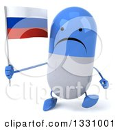 Clipart Of A 3d Unhappy Blue And White Pill Character Walking And Holding A Russian Flag Royalty Free Illustration