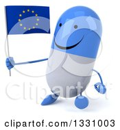 Clipart Of A 3d Happy Blue And White Pill Character Walking Slightly To The Left And Holding A European Flag Royalty Free Illustration