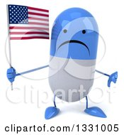 Clipart Of A 3d Unhappy Blue And White Pill Character Giving A Thumb Down Holding An American Flag Royalty Free Illustration