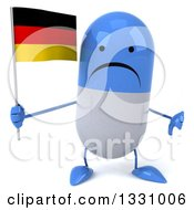 Clipart Of A 3d Unhappy Blue And White Pill Character Giving A Thumb Down And Holding A German Flag Royalty Free Illustration