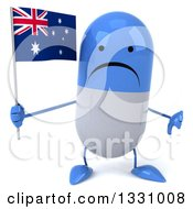 Clipart Of A 3d Unhappy Blue And White Pill Character Giving A Thumb Down And Holding An Australian Flag Royalty Free Illustration