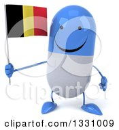 Clipart Of A 3d Happy Blue And White Pill Character Holding A Belgian Flag Royalty Free Illustration