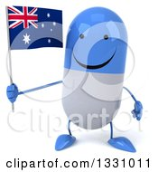 Clipart Of A 3d Happy Blue And White Pill Character Holding An Australian Flag Royalty Free Illustration