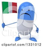 Clipart Of A 3d Inhappy Blue And White Pill Character Holding An Italian Flag Royalty Free Illustration