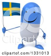Clipart Of A 3d Happy Blue And White Pill Character Holding A Swedish Flag Royalty Free Illustration