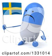 Clipart Of A 3d Unhappy Blue And White Pill Character Walking Slightly To The Left And Holding A Swedish Flag Royalty Free Illustration