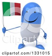 Clipart Of A 3d Happy Blue And White Pill Character Holding An Italian Flag Royalty Free Illustration