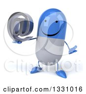 Clipart Of A 3d Happy Blue And White Pill Character Shrugging And Holding An Email Arobase At Symbol Royalty Free Illustration