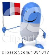 Clipart Of A 3d Happy Blue And White Pill Character Holding A French Flag Royalty Free Illustration