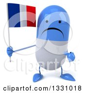 Clipart Of A 3d Unhappy Blue And White Pill Character Holding And Pointing To A French Flag Royalty Free Illustration
