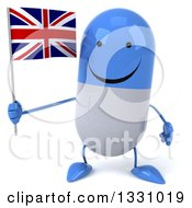Clipart Of A 3d Happy Blue And White Pill Character Holding A British Union Jack Flag Royalty Free Illustration