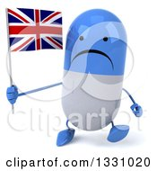Clipart Of A 3d Unhappy Blue And White Pill Character Walkinga Nd Holding A British Union Jack Flag Royalty Free Illustration