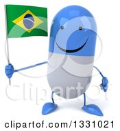 Clipart Of A 3d Happy Blue And White Pill Character Holding A Brazilian Flag Royalty Free Illustration